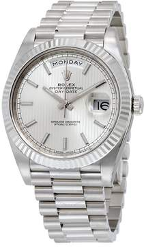 Rolex Day-Date 40 Silver Dial 18K White Gold President Automatic Men's Watch