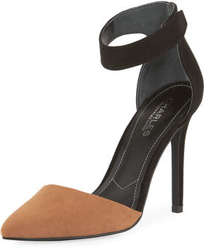 Charles by Charles David Pointer Two-Tone Ankle Pump, Taupe
