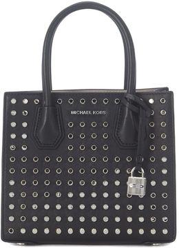 Michael Kors Mercer Black Leather Handbag With Studs - NERO - STYLE