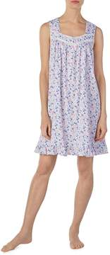 Eileen West Floral-Printed Jersey Knit Short Nightgown