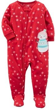 Carter's Toddler Girl Snowman Applique Snowflake Fleece Footed Pajamas