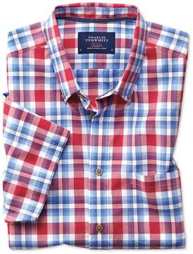 Charles Tyrwhitt Slim Fit Button-Down Poplin Short Sleeve Sky Blue and Red Check Cotton Casual Shirt Single Cuff Size XS