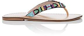 Barneys New York WOMEN'S BEADED LEATHER THONG SANDALS