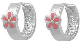Ice Girls' Jewelry Silver Pink Enamel Flower Child Huggie Hoop Earrings
