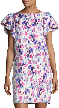 Donna Morgan Ruffle-Sleeve Floral-Print Shift Dress, Multi Pattern