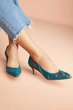 Anthropologie Embossed Kitten Heels