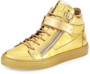 Giuseppe Zanotti Kids' Unisex Metallic Leather High-Top Sneaker, Gold, Toddler/Youth