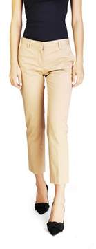 Miu Miu Women's Cotton Chino Slim Fit Pants Khaki.