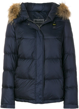 Blauer puffer jacket with fur trimmed hood