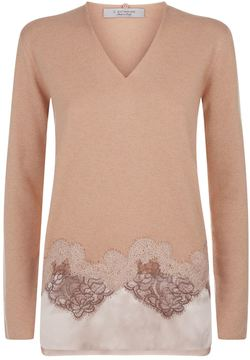 D-Exterior D.Exterior Silk and Lace Hem Sweater