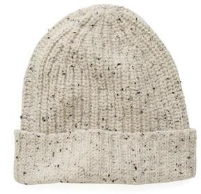 Todd Snyder Ribbed Knit Hat in Beige