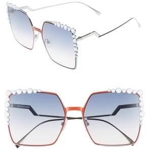Women's Fendi 60Mm Gradient Square Cat Eye Sunglasses - Orange