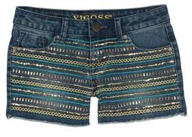 Vigoss Girl's Sequined Stripe Shorts