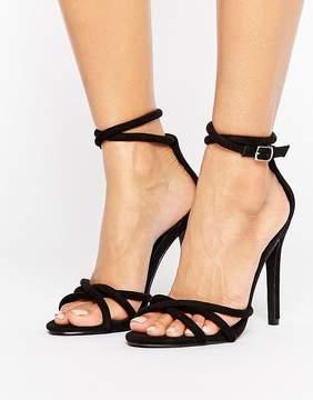 Public Desire Black Knot Heeled Sandals