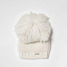 River Island Womens Cream oversized bobble knitted beanie hat