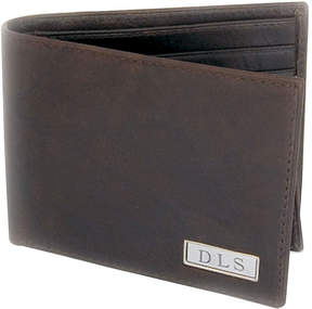 Asstd National Brand Leather Bi-fold Wallet with Engravable Plaque
