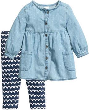 H&M Dress and Leggings - Blue