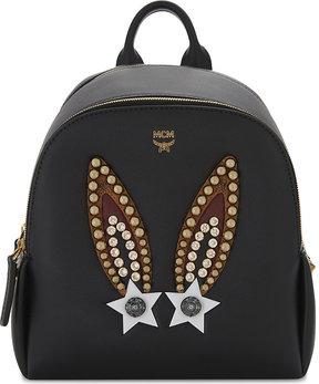 MCM Ladies Black Embellished Luxury Bunny Polke Leather Backpack