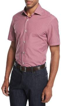 Ermenegildo Zegna Check Short-Sleeve Shirt, Medium Red