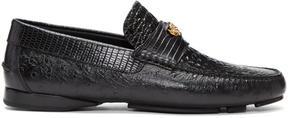 Versace Black Croc Driver Loafers