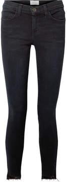 Current/Elliott The Stiletto Frayed Mid-rise Skinny Jeans - Dark denim