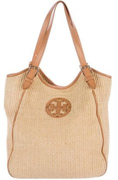 Tory Burch Leather-Trimmed Straw Hobo - NEUTRALS - STYLE