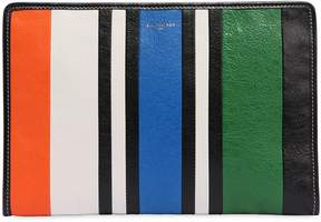 Balenciaga Bazar Striped Leather Pouch