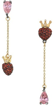Betsey Johnson Pink and Gold CZ Heart Earrings Earring