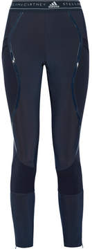 adidas by Stella McCartney Climaheat Ribbed Knit-paneled Stretch Leggings - Midnight blue