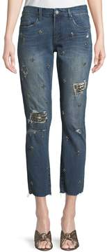 Blank NYC Jeweled Ripped Straight-Leg Jeans, Blue