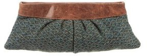 Lauren Merkin Leather-Trimmed Wool Clutch