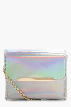boohoo Silver Holographic Structured Cross Body