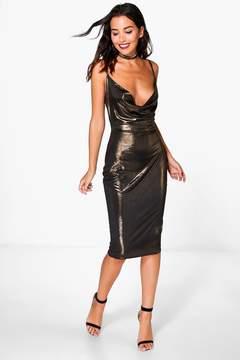 boohoo Pearl Metallic Strappy Cowl Neck Midi Dress