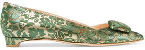 Rupert Sanderson Aga Brocade Point-toe Flats - Green