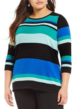 Allison Daley Plus 3/4 Sleeve Mixed Stripe Pullover Sweater