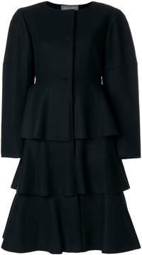 Alberta Ferretti frill round neck coat