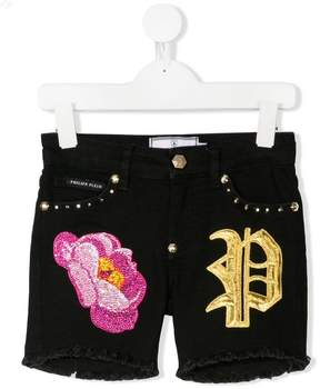 Philipp Plein Junior embellished denim shorts