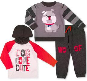 Nannette 3-Pc. Hoodie Shirt, Sweatshirt & Sweatpants Set, Toddler Boys (2T-5T)