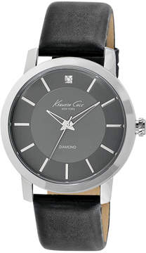 Kenneth Cole New York Watch, Men's Diamond Accent Black Leather Strap 44mm KC1986