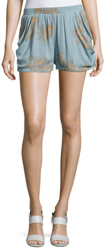 Bishop + Young Luna Print Crepe Shorts, Light Blue