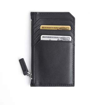 Royce Leather Royce Black Zippered Credit Card Wallet