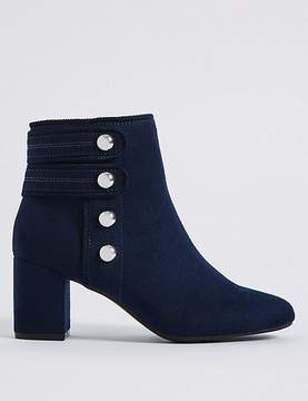Marks and Spencer Wide Fit Block Heel Four Button Ankle Boots