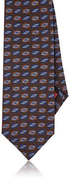 Isaia Men's Geometric-Print Sueded Silk Necktie