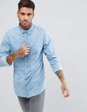 New Look Denim Shirt With Paint Splatter In Light Wash