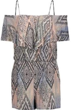 Tart Collections Taci Off-The-Shoulder Printed Stretch-Modal Playsuit