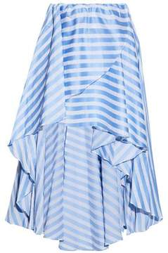 Caroline Constas Asymmetric Wrap-Effect Striped Cotton-Poplin Skirt