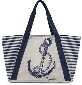 Nautica For Shoal Large Tote - Navy Stripe & Natural