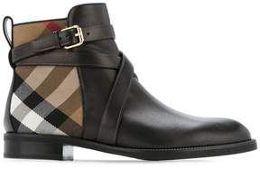 Burberry house check detail boots
