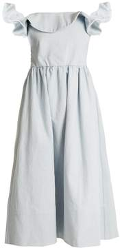 Apiece Apart Novella off-the-shoulder denim midi dress