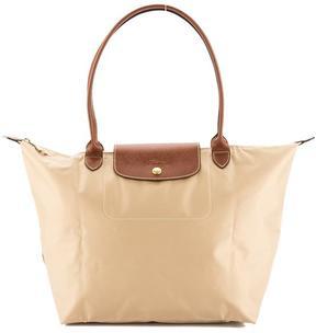 Longchamp Beige Nylon Canvas Le Pliage L Long Strap Bag - BEIGE - STYLE